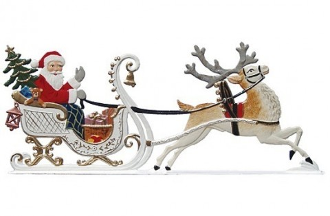 Reindeer Pulling Santa Christmas Pewter Wilhelm Schweizer - TEMPORARILY OUT OF STOCK