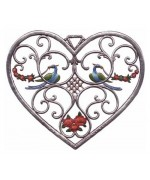 Birds in Heart Window Wall Hanging Wilhelm Schweizer