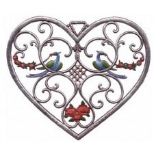 Birds in Heart Window Wall Hanging Wilhelm Schweizer
