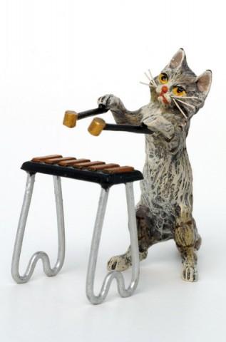 Vienna Bronze Xylophone Cat