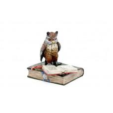 Vienna Bronze Owl on Book