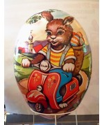 Traditional Motif Paper Mache Easter Egg - Bunny on Motorbike