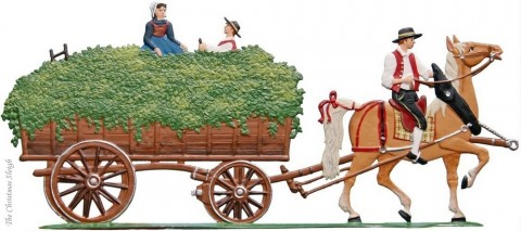The Harvesting of the Hops Harvest Wagon Hopfenwagen Standing Pewter Wilhelm Schweizer