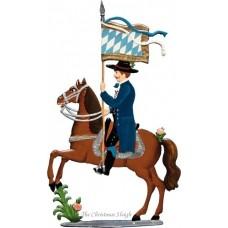 St. Leonhardifahrt Rider with Flag of Bavaria (First Figure) Standing Pewter Wilhelm