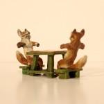 Vienna Bronze Foxes Playing Backgammon