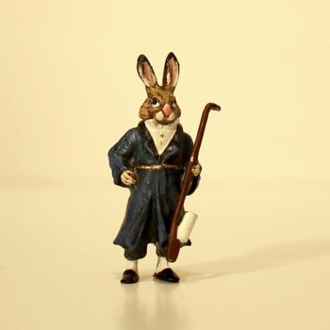 Easter Bunnies Vienna Bronze Rabbit Grandfather Miniature