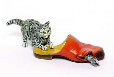 Vienna Bronze Cat Chasing Mouse In Slipper