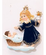 Angel with Crib Christmas Pewter Wilhelm Schweizer