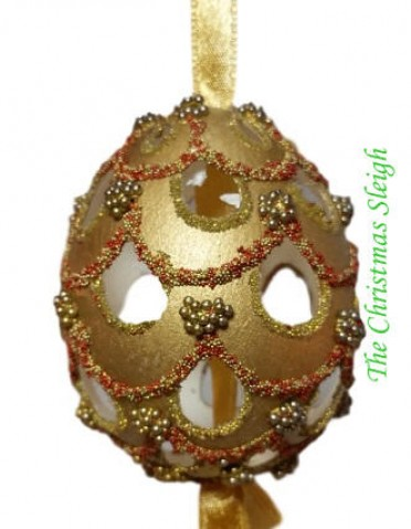 TEMPORARILY OUT OF STOCK - Peter Priess of Salzburg Hand Painted Egg CHRISTMAS - GOLD