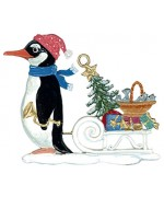 Wilhelm Schweizer Christmas Pewter Penguin with Sled