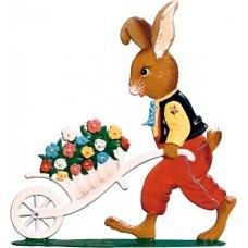 Wilhelm Schweizer Easter Pewter Bunny with Wheelbarrow