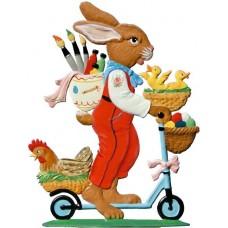 Wilhelm Schweizer Easter Ostern Pewter Anno 2001 Bunny with Roller
