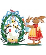 Wilhelm Schweizer Easter Ostern Pewter Anno 2002 Mamma Bunny and Baby - TEMPORARILY OUT OF STOCK