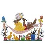 Wilhelm Schweizer Easter Ostern Pewter Anno 2005 Bunny in der Haengematte