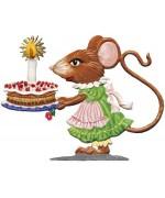 NEW - Wilhelm Schweizer Pewter Girl Mouse with Birthday Cake