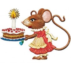 NEW - Wilhelm Schweizer Pewter Ornament Girl Mouse with Birthday Cake