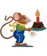 NEW - Wilhelm Schweizer Pewter Boy Mouse with Birthday Cake