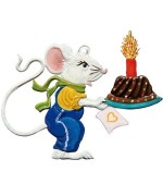 NEW - Wilhelm Schweizer Pewter Ornament Boy Mouse with Birthday Cake