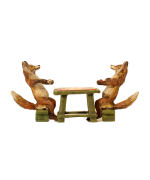 Vienna Bronze Foxes Playing Backgammon