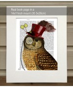 Owl with Top Hat FabFunky Book Print