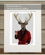 Deer in Smoking Jacket FabFunky Book Print