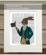 Hare in Turquoise Coat FabFunky Book Print
