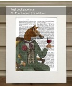 Wine Taster Fox Portrait FabFunky Book Print