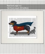 Dachshund on Skateboard FabFunky Book Print