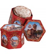 TEMPORARILY OUT OF STOCK - RED HEXAGON TIN LEBKUCHEN (Gingerbread)