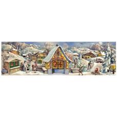 Old German Paper Advent Calendar Panorama
