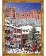 NEW - Old German Paper Advent Calendar 'Old Heidelberg' Heidelberger Schloss
