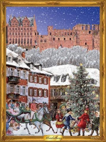 Old German Paper Advent Calendar 'Old Heidelberg' Heidelberger Schloss