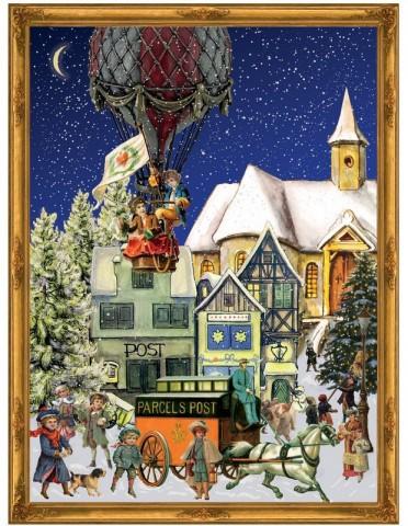 Old German Paper Advent Calendar Christmas Market
