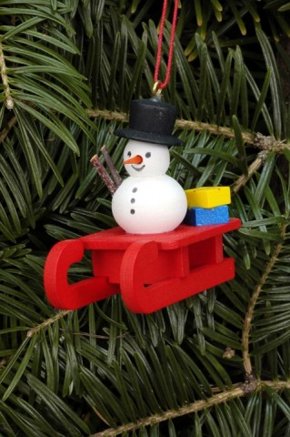 Christian Ulbricht German Ornament Snowman on Sled - TEMPORARILY OUT OF STOCK