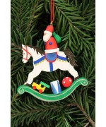 TEMPORARILY OUT OF STOCK - Christian Ulbricht German Ornament Santa on Rocking Horse