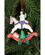 Christian Ulbricht German Ornament Angel on Rocking Horse