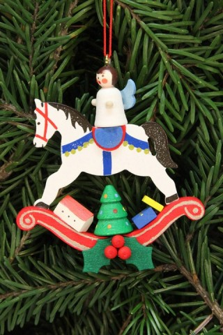 Christian Ulbricht German Ornament Angel on Rocking Horse - TEMPORARILY OUT OF STOCK