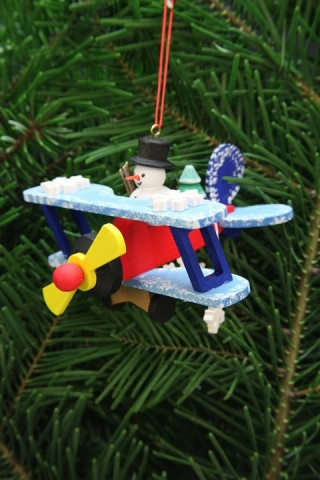 Christian Ulbricht German Ornament Snowman on Plane - TEMPORARILY OUT OF STOCK