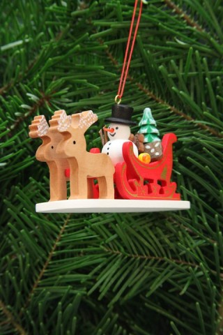 TEMPORARILY OUT OF STOCK - Christian Ulbricht German Ornament Snowman in Sleigh