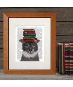 NEW - Grey Cat with Books FabFunky Book Print