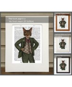 Cat in Tartan Waistcoat FabFunky Book Print - TEMPORARILY OUT OF STOCK