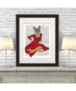 NEW - Grey Cat with White Rose FabFunky Book Print