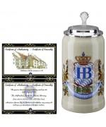 Hofbrauhaus German Beer Mug Loewendekor Beerstein with Tin lid