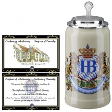 Hofbrauhaus German Beer Mug Loewendekor Beerstein with Tin lid