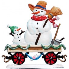 TEMPORARILY OUT OF STOCK - Train Car with Snowmen 2016 Christmas Pewter Wilhelm Schweizer