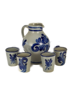 TEMPORARILY OUT OF STOCK - German Salt Glaze Pottery Pitcher and Cups Set