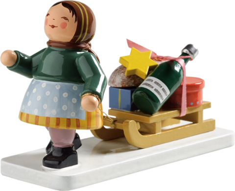 NEW - Wendt & Kuhn Girl with Sleigh