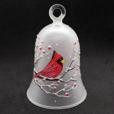 NEW - Christmas Easter Salzburg Hand Painted Glass Bell - Cardinal