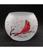 NEW - Christmas Easter Salzburg Hand Painted Tea Light Holder - Cardinal