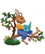 2018 Bunny Reading Easter Oster Wilhelm Schweizer Pewter - TEMPORARILY OUT OF STOCK